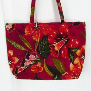 Colorful Floral Beaded Canvas Boho Chic Tote Bag